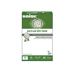 Boise(R) X-9(R) Multi-Use Copy Paper, Ledger Paper Size, 92 Brightness, 24 Lb, 500 Sheets Per Ream, Case Of 5 Reams