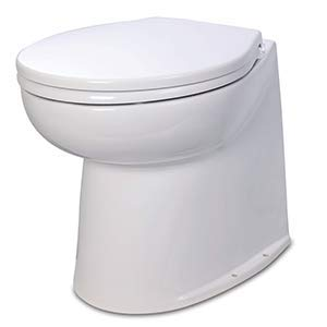 Jabsco 58080-1012 Deluxe Flush 12V DC Electric Toilet Straight Back with Solenoid Fresh Water Rinse, 14