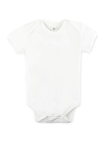 Colored Organics Unisex Baby Organic Cotton Bodysuit - Short Sleeve Infant Onesie - Cloud - 12-18M ()