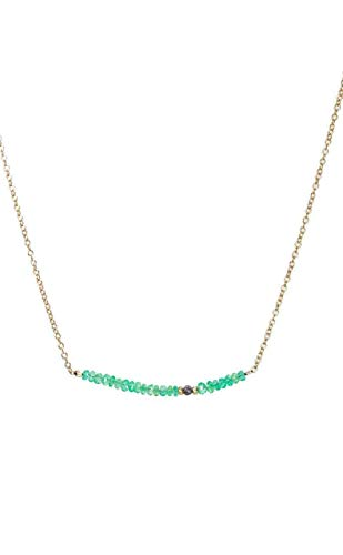 Raw Black Diamond and Columbian Emerald Stone Bar Necklace- 16