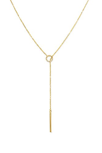 Gold Necklaces for Women - 14K Gold Necklace for Women Chain Delicate Tiny Simple Layering Lariat Necklace Y Necklace Drop Open Circle Pendant Chain Necklaces Jewelry Thin Shaped Celebrity Endorsed ()