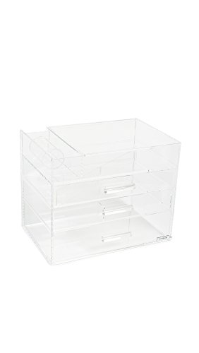 Price comparison product image GLAMboxes Women's GLAMpetite Makeup Partial Lid Holder, Clear, One Size