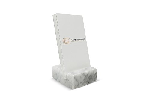 Vertical Business Card Holder White Carrara Marble