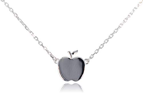 Dote Apple Pendant Dainty Genuine .925 Sterling Silver Necklace w/ 16-18