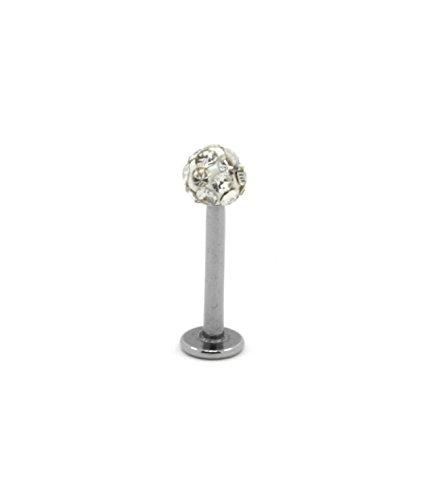 Crystal Lip Stud Labret Ring Monroe Tragus Bar 8mm 3mm Small White Ball