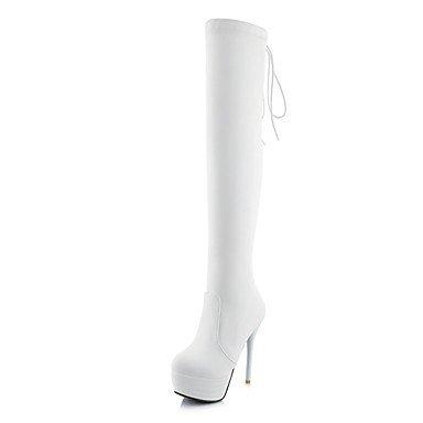 RTRY Zapatos de mujer polipiel moda otoño invierno botas botas Stiletto talón puntera redonda Lace-Up Thigh-High botas por parte &Amp; traje de noche US10.5 / EU42 / UK8.5 / CN43
