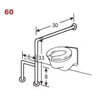 Brey-Krause Wall to Floor Grab Bar with Support Leg