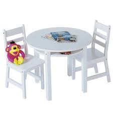 Constructed Beechwood Childrens Round Table and Chair Set (Includes 2 chairs )14.5D x 13.75W x 25.5H in. (Chair), 29 diam. x 23.5H in. (Table) - White by Product Lipper