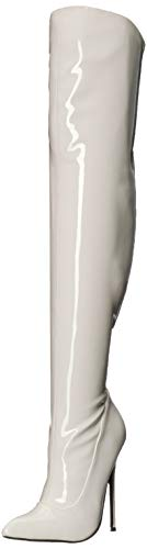 (The Highest Heel Women's Sky 31 Thigh High Stretch Patent 5-Inch Heel Boot Over The Knee, White, 14 Medium US)