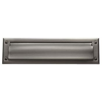 "Baldwin 0014.140 Polished Nickel 13"" x 3.625"" Letter Box Plate with Interior Plate"