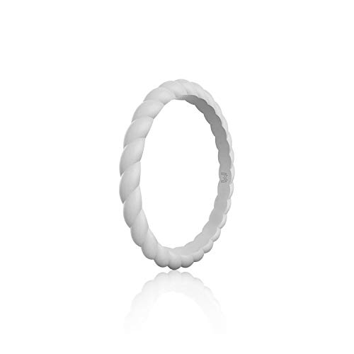 WIGERLON Womens Silicone Wedding Ring &Rubber Wedding Bands for Workout and Sports Width 3mm Color Grey Size 4]()
