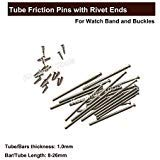 Pukido Tube Friction Pin Pressure Bars Pins & Rivet Ends for Watch Band Clasp Straps Buckles Bracelets Thickness 1.0mm 100 pcs 8-26mm - (Color: Silver) ()