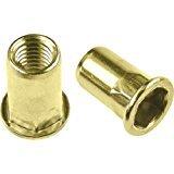 Half Hex Body Large Flange Rivet Nut - Material: Steel-Yellow Zinc, Thread Size: 10-32 UNC, Grip Range: .020-.130, 100 Piece Box