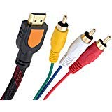 Fivetech 5FT 1080P HDMI Male to 3 RCA Video Audio AV Cable Adapter For TV HDTV DVD New