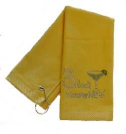 Navika Crystal Embellished Margarita ''It's 5 O'clock Somewhere'' Yellow Golf Towel