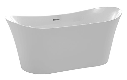 Classic Copper Soaking Tub - ANZZI Eft 67 in Glossy White Acrylic Oval Flat Bottom Freestanding bathtub | Luxury Soaking Deep Large Bathroom Round Standing Tub with Built in Overflow and Drain | FT-AZ096