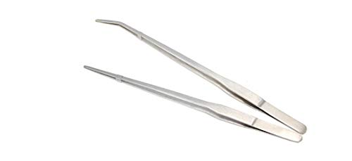 Mefuny Set of two Lengthy Deal with Stainless Metal Straight and Curved Tweezers Nippers for Backyard, Kitchen, Indoors and Outdoor
