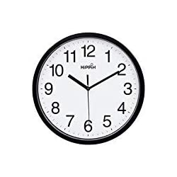 HIPPIH 10 Silent Quartz Decorative Wall Clock Non-Ticking Classic Digital Clock Battery Operated Round Easy to Read Home/Office/School Clock (Black)