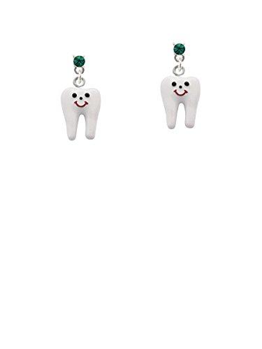 Enamel Tooth Green Crystal Post Earrings