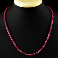 2x4mm Natural Faceted Brazil Red Ruby Gemstone Beads Necklace 18'' (Gemstone Ruby Necklace)