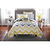 Mainstays Yellow Grey Chevron Bed in a Bag Bedding Comforter Set-FULL