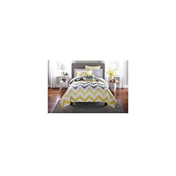 Amazon Com Mainstays Yellow Grey Chevron Bed In A Bag