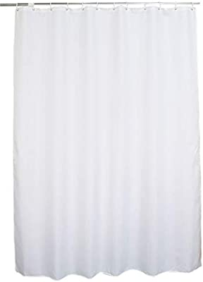 48 X 72 White Shower Curtain Water Repellent Fabric Mildew Resistant Washable Polyester Wider Than 40 Inches Hotel Quality Eco Friendly With Heavy Duty