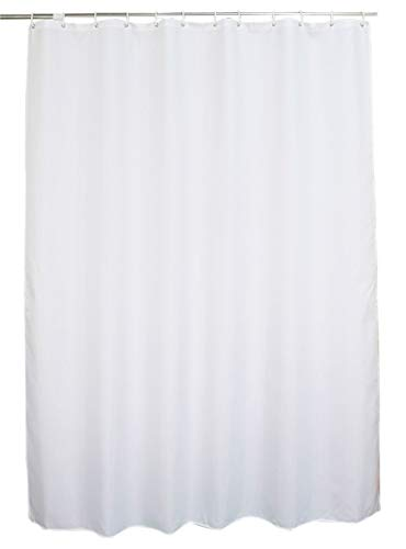 48 x 72 White Shower Curtain Water Repellent Fabric Mildew Resistant Washable Polyester (Wider Than 40 inches Hotel Quality Eco Friendly) with Heavy Duty Plastic Hooks - Small, Pure White