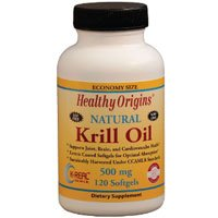 Krill Oil, 500 mg, 120 Soft Gels by Healthy Origins (Pack of 3)