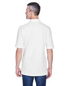 5XL an Brand Harriton Adult 6 oz Ringspun Cotton Piqu/é Short-Sleeve Pocket Polo Shirt White