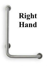 90 Deg. 1.25 Diameter Angle Grab Bar with Peened & Knurled Grip (24 x 16 Knurled - Left Hand) grabbarscanada.com