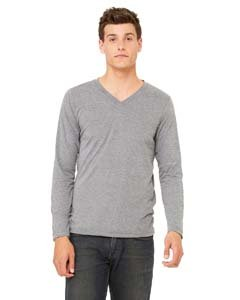 Bella + Canvas 3425 Mens Jersey Long Sleeve V Neck T Shirt Grey Triblend - Sleeve Mens T-shirt Long Jersey