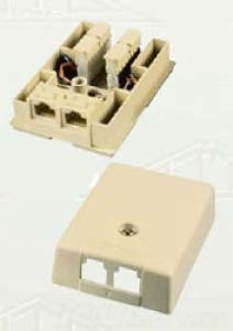 Allen Tel Products AT104-6-52 USOC Wiring 2 Ports 6 Position 2-6 Conductor Surface Mount Duplex IDC Outlet Jack, Electric Ivory