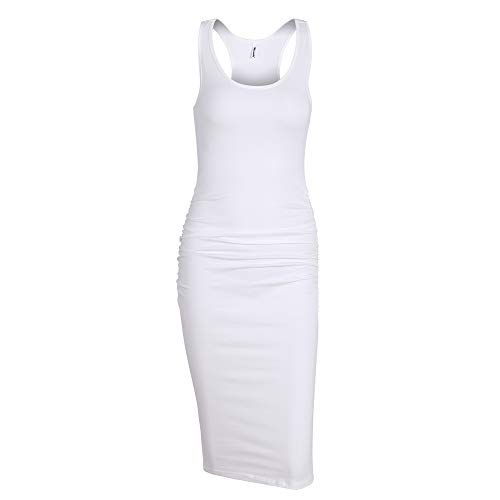 Missufe Women's Sleeveless Racerback Tank Ruched Bodycon Sundress Midi Fitted Casual Dress (Cream White-01, Small)