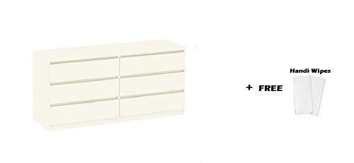Tvilum Scottsdale 6 Drawer Double Dresser, (Off-White + Free Handi Wipes)