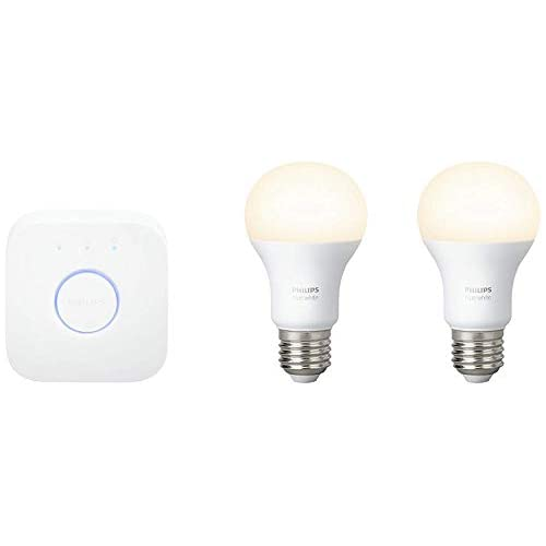 chollos oferta descuentos barato Philips Hue Kit 2 Bombillas Inteligentes LED E27 y Puente 9 55 W Luz Blanca Cálida Compatible con Alexa y Google Home