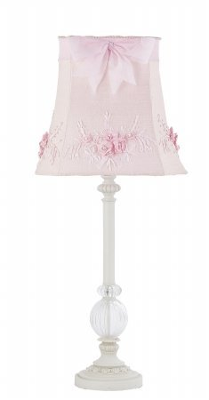 Jubilee Collection 870002-4084 White Glass Ball Lamp with Pink Floral Bouquet Shade, Large