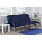 Mainstays Metal Arm Futon with Mattress, BLUE (INDIGO ESSENCE)