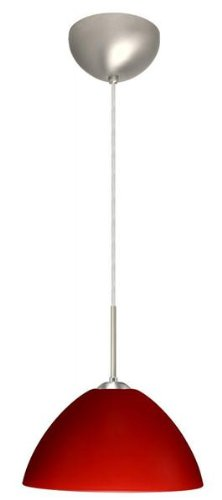 Besa Lighting 1JC-420131-LED-BR 1X6W GU24 Tessa LED Pendant with Red Matte Glass, Bronze Finish