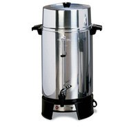 - West Bend 33600 Highly Polished Aluminum Commercial Coffee Urn Features Automatic Temperature Control Large Capacity with Quick Brewing Smooth Prep and Easy Clean Up, 100-Cup, Silver