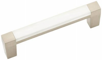 Belwith Products P3441-SNWM 3-Inch Loft Satin Nickel White Cabinet Pull - Quantity 10 by Belwith