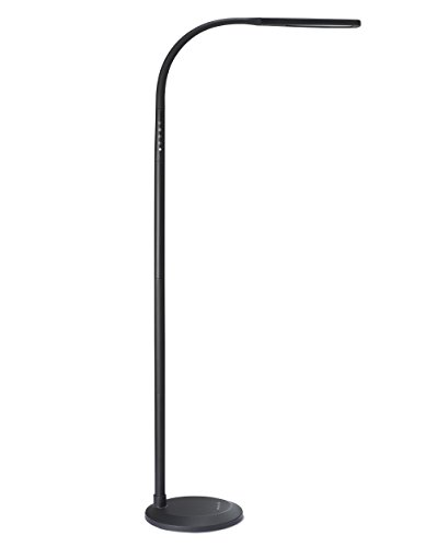 PHIVE LED Floor Lamp for Reading, Dimmable Gooseneck Standing Lamp (4 Color Modes, 5-Level Dimmer, 12W, Memory Function, Touch Control Floor Light for Living Room, Bedroom, Office) Black by PHIVE