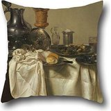 Throw Cushion Covers 16 X 16 Inches / 40 By 40 Cm(2 Sides) Nice Choice For Adults,son,living Room,gril Friend,bedroom,him Oil Painting Willem Claesz Heda - Banquet Piece With Mince Pie (150 000+ Embroidery Designs compare prices)