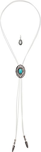 M&F Western Women's Bolo Style with Round Concho Necklace/Earrings Set Silver/White One Size