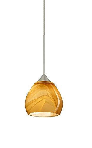Besa Lighting 1XT-5605HN-LED-SN Tay Tay 1 Light LED Cord-Hung Mini Pendant with Honey Glass Shade ()