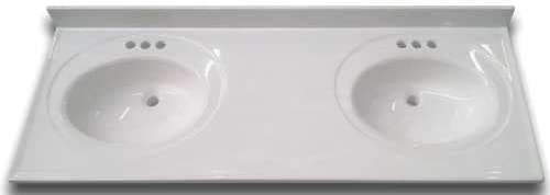 PREMIER 2474670 Bathroom Vanity Top with Double Recessed Bowl, Cultured Marble, 22 x 61 , White