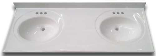 (Bathroom Vanity Top with Double Recessed Bowl, Cultured Marble, White, 22X61)