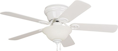 Litex Industries Ellington Wc42ww5c1 Wyman Hugger Mount Ceiling Fan With Bowl Light  White With Whitewashed Blades  42
