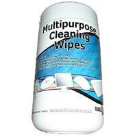 100 Pack Multipurpose Cleaning Wipes - Removes dust, grime, dirt, ink residues - Suitable for use on computer cases, peripherals and keyboards - Can be used to clean telephone handsets and headsets - 100 wipes (130x150mm) contained in a re-sealable tub dispenser - Alcohol free moist cleaning wipes for use on most surfaces, ideal for use with most computers / office equipment. i.e. screens, keyboards, mice, CD/DVD, TV, video, telephones etc