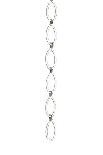 RCH Hardware CH-04-MS Decorative Matte Silver Solid Brass Chain for Hanging, Lighting - Sleek Ovals and Unwelded Links (1 Foot)